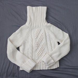 Express Chunky White/Cream Crop Turtleneck Sweater